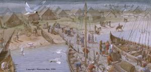 Rappresentazione di un porto vichingo (Flemming Bau)