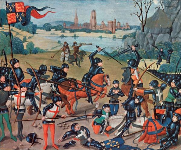 Illustrazione medievale della battaglia (Lambeth Palace Library)