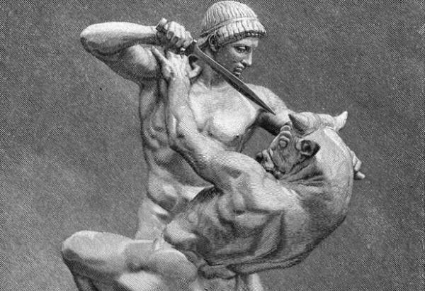 Incisione di Teseo che uccide il Minotauro (Getty)