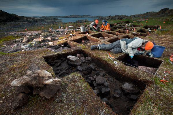 Patricia Sutherland (giacca arancione) scava un potenziale sito vichingo (David Coventry, National Geographic)