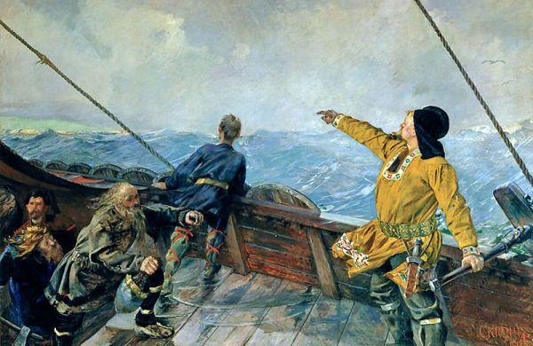 Leif Erikson scopre l'America. Di Christian Krogh (1893)