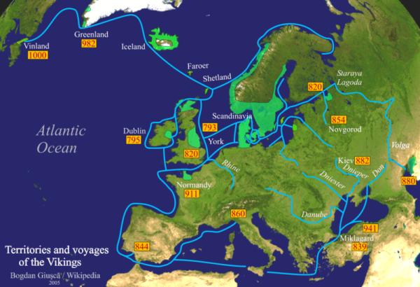 Territori e viaggi dei Vichinghi (wikipedia)
