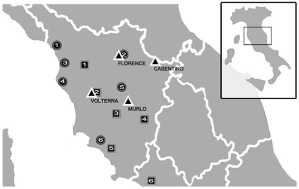 I siti dove sono stati analizzati i campioni (PLoS ONE)