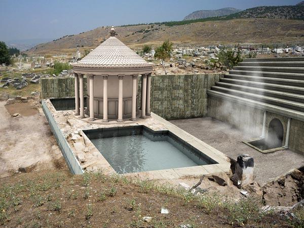 Ricostruzione digitale di come doveva apparire il tempio dedicato al dio Ade a Hierapolis (Francesco D'Andria)