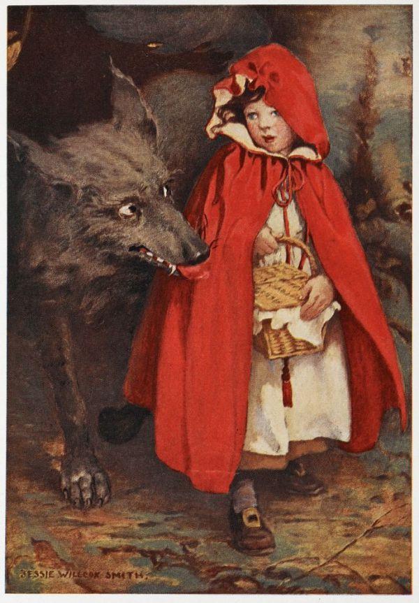 Cappuccetto Rosso e il lupo in un'illustrazione di J. W. Smith (Getty Images)