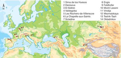 Posizione di Sima de los Huesos (giallo) e dei siti che hanno portato a DNA di Neandertal (rosso) e di Denisova (blu) (Nature)