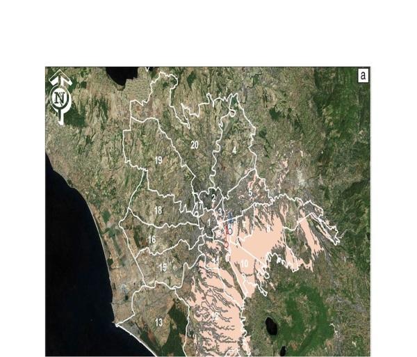 Una mappa che mostra l'espansione di Roma sopra un antico sistema di cave (Sotterranei di Roma)
