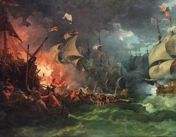 La sconfitta dell'Invincibile Armada, 8 agosto 1588 di Philippe-Jacques de Loutherbourg, dipinto nel 1796 (wikipedia)