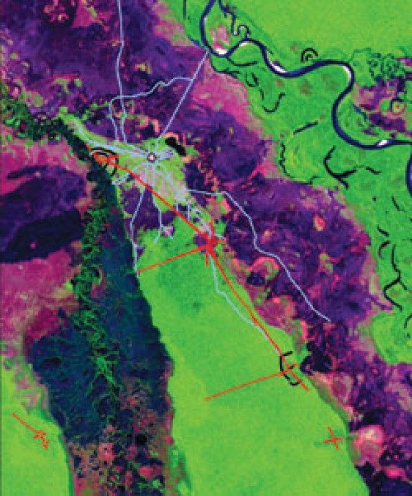 Ampie strade (in rosso) collegano antiche città (Science)