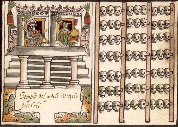 Uno tzompantli dal manoscritto conosciuto come Codice Ramírez (wikimedia)