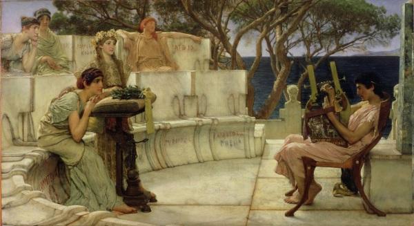 Saffo e Alceo a Mitilene, Lawrence Alma-Tadema (1881) (wikimedia)