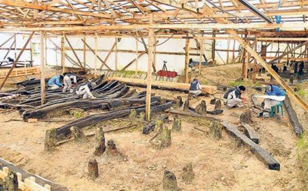 Il cantiere dello scavo dell'università di Istanbul a Yenikapi, sul Bosforo (ANSA)
