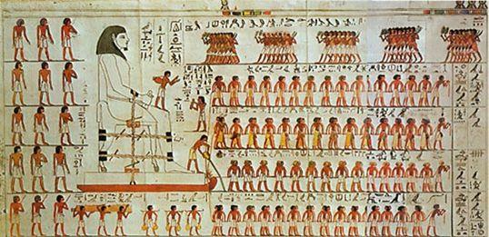 Dipinto all'interno della tomba del nomarca Djehutihotep: ai piedi della grande statua trasportata nel deserto si vede una persona intenta a versare acqua sulla sabbia, davanti al traino (Fundamental Research on Matter, FOM)