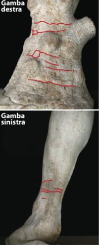 Le lesioni presenti sulle porzioni inferiori delle gambe del David di Michelangelo (Istituto di geoscienze e georisorse del Consiglio nazionale delle ricerche Igg-Cnr di Firenze)
