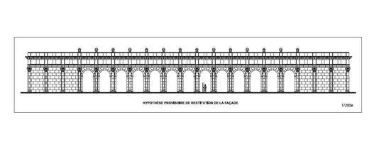 Ricostruzione provvisoria della facciata (Christophe Gaston, Inrap)