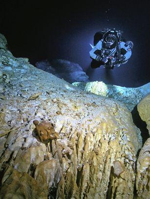 Il cranio e un osso di Naia, incastrati in un anfratto del pozzo subacqueo (National Geographic)
