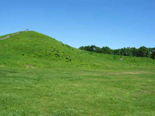 (Sharon Broussard, Poverty Point Mound A, looking north northeast)