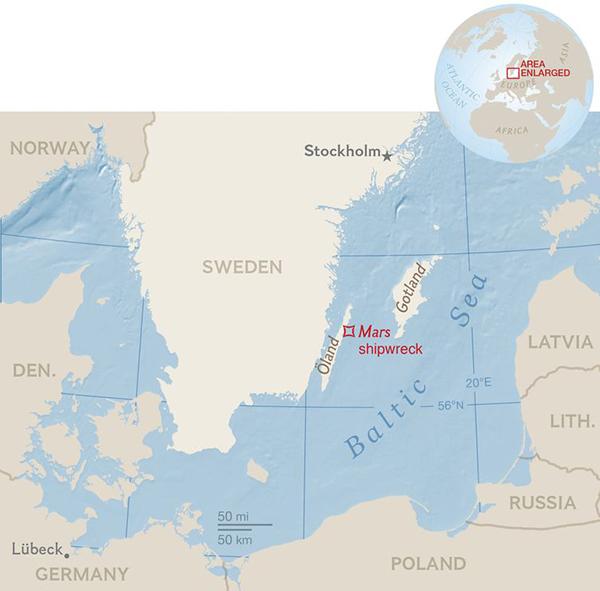 La zona del Mar Baltico dove è stato individuato il relitto (Ng Staff, Jamie Hawk. Source: Richard Lundgren, Ocean Discovery)