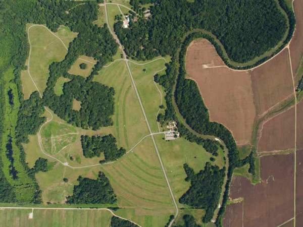 (Susan Guice, 2012 aerial photograph of Poverty Point (north at top) )