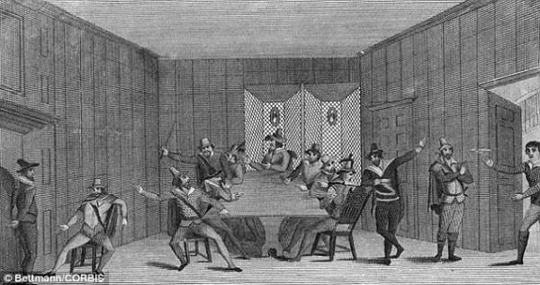 Un'illustrazione del XVIII secolo di Guy Fawkes e degli altri cospiratori in una stanza segreta dietro la Chiesa di San Clemente