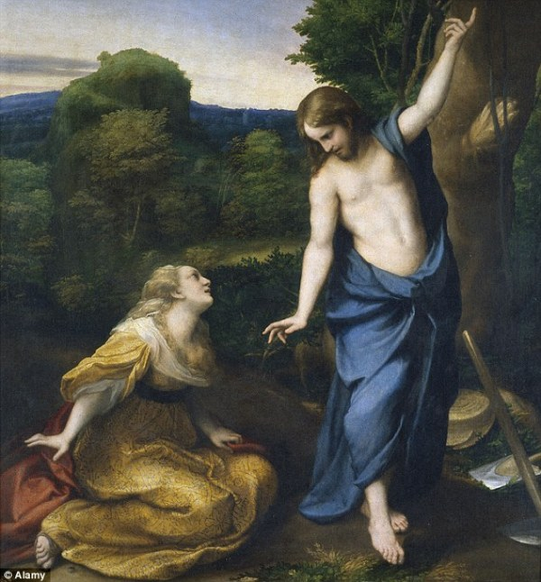 Gesù si rivela a Maria Maddalena dopo la resurrezione nel dipinto di Antonio Allegri da Correggio, intitolato Noli me Tangere