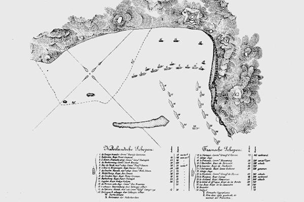 Mappa della Battaglia di Scarborough Harbour, 1677 (University of Connecticut)
