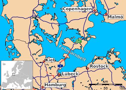 In rosso il tunnel Fehmarn Belt (Wikimedia)