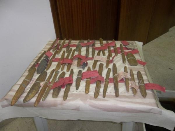 I lingotti di oricalco del VI sec. a.C. recuperati nel mare di Gela (ANSA)