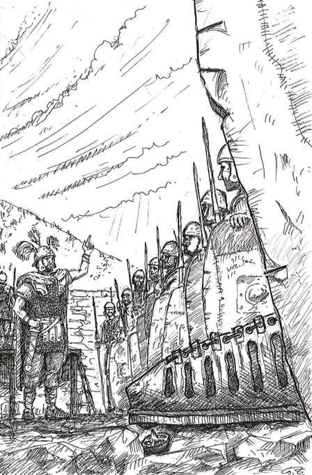 Legionari romani nel forte di Grociana Piccola (disegno di Guido Zanettini)