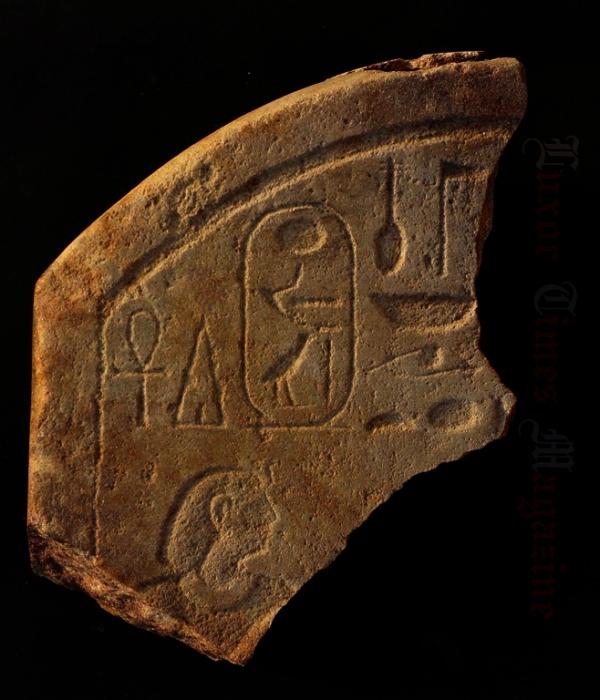 Il frammento col cartiglio del faraone Amenemhat IV (S.E. Sidebotham, MOA)