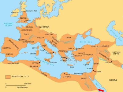 L'impero romano alla sua massima estensione e, in rosso, il porto di Berenice (The Berenike project)
