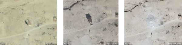 La tomba di Elahbel, una delle torri funerarie distrutte (DigitalGlobe)