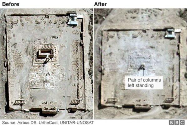 Il tempio di Bel prima e dopo (UNOSAT)