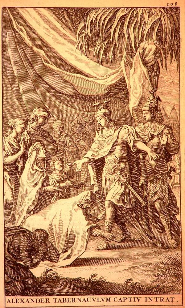 """Illustrazione da un'edizione a stampa (1696) delle Historiae di Curzio Rufo (Alessandro ed Efestione entrano nella tenda della famiglia reale prigioniera di Dario e, siccome la regina madre ha confuso Efestione con Alessandro, questi le dice: """"Non vi siete sbagliata, madre, ché anche lui è Alessandro"""") (wikimedia)"""