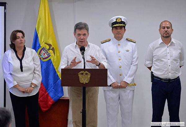 Il presidente colombiano Juan Manuel Santos annuncia la scoperta (Colombian Ministry of Culture and the Colombian Institute of Anthropology and History)