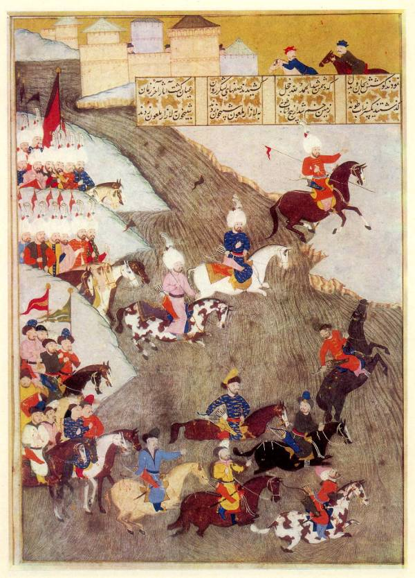 Miniatura ottomana sull'assedio di Szigetvár che mostra le truppe ottomane ed i Tatari come avanguardie, datata 1579 (Wikimedia)