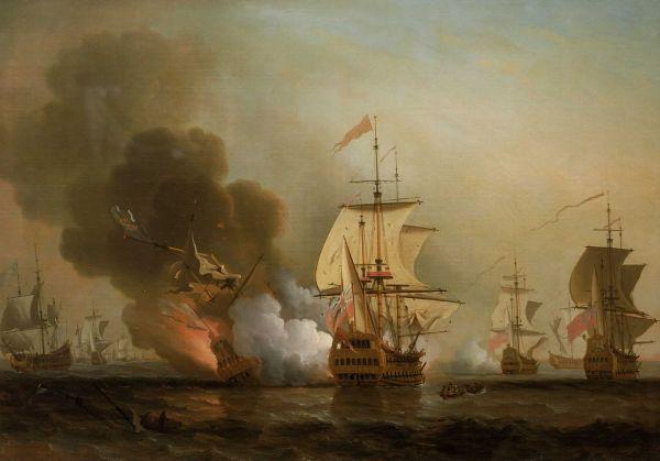 L'affondamento della San José in un dipinto di Samuel Scott (Samuel Scott)