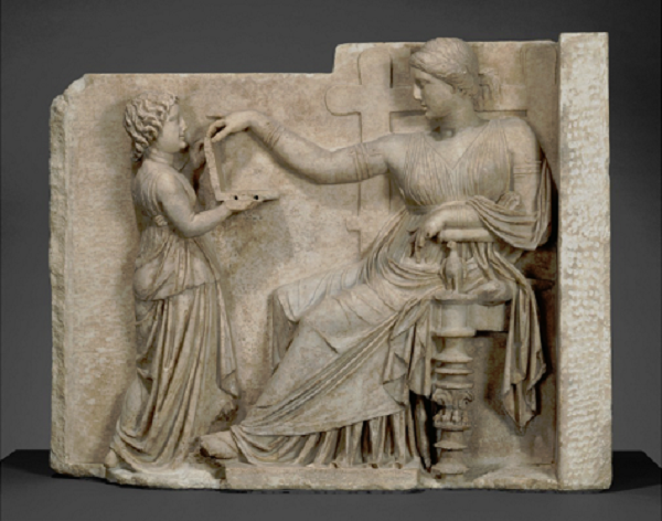 Grave Naiskos of an Enthroned Woman with an Attendant (100 BC) (J. Paul Getty Museum)