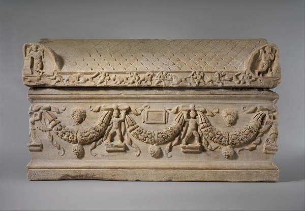 Sarcofago romano di marmo con ghirlande (ca. 200-225) (Metropolitan Museum of Art)