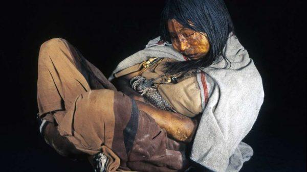 Una delle mummie utilizzate per lo studio: La Doncela, mummia Inca scoperta sul Monte Llullaillaco, in Argentina, nel 1999 (Johan Reinhard)
