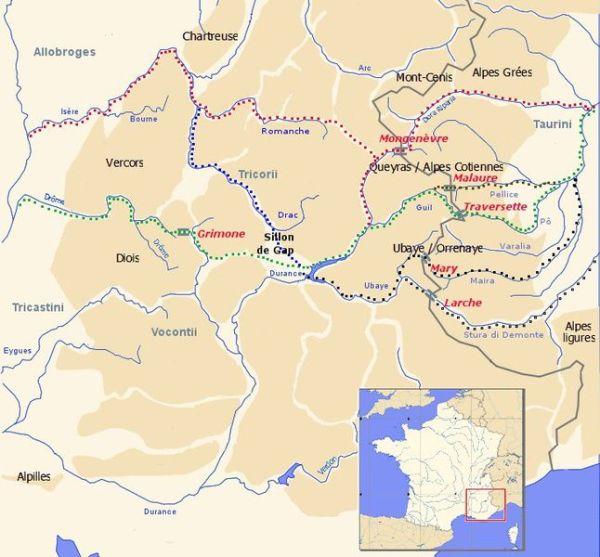 Le possibili vie seguite da Annibale per raggiungere l'Italia romana (Wikimedia)