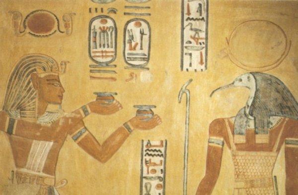 Il faraone Ramses III e Thoth in una pittura tombale del XII secolo a.C. (Wikimedia)