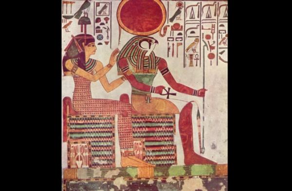 Ra e la dea Imentet in una pittura tombale della tomba di Nefertari, XIII secolo a.C. (Wikimedia)