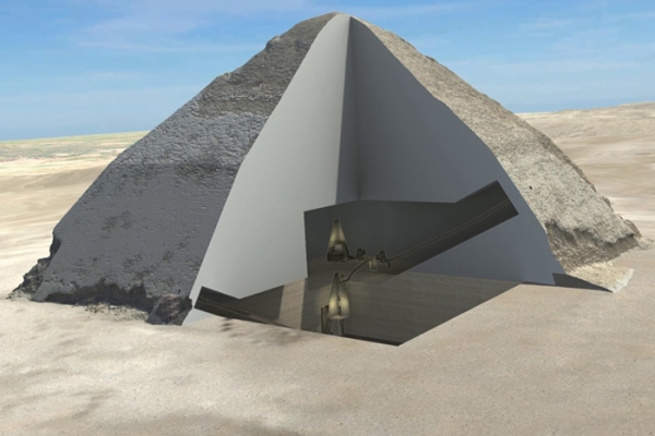 Una sezione 3D della piramide romboidale (Egyptian Ministry of Antiquities, HIP Institute and the Faculty of Engineering, Cairo University)