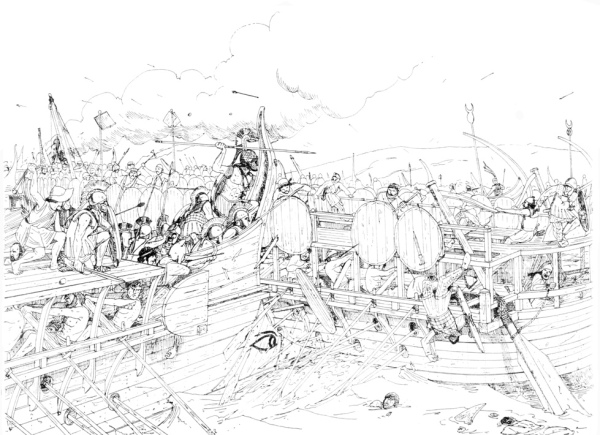 Illustrazione della battaglia di Salamina (Zea Harbour Project)