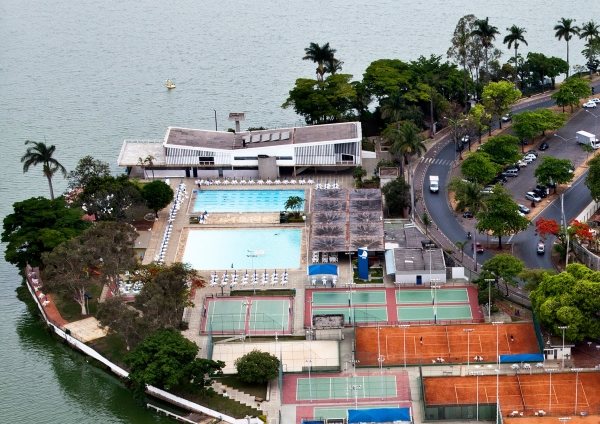 Pampulha Modern Ensemble: Aerial photo of Yacht Club. (Marcilio Gazzinelli)