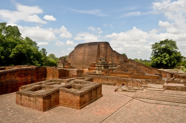 Excavated Remains of Nalanda Mahavihara: View of Site no. 03 and structure to north of Site no. 1B from East (Rajneesh Raj)