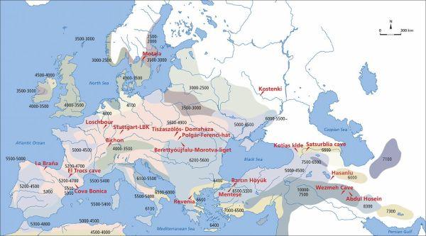 Una mappa con le date dell'arrivo del Neolitico (Science)