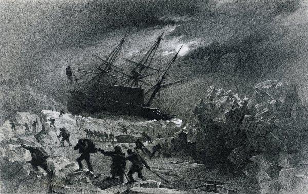 La HMS Terror bloccata nel ghiaccio e comandata dall'ammiraglio George Back, nel corso della Frozen Strait Expedition, 1836-1837 (De Agostini/Getty Images)