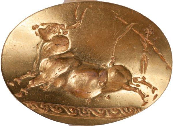 Anello d'oro massiccio con scena cretese di salto sul toro (Department of Classics/University of Cincinnati)